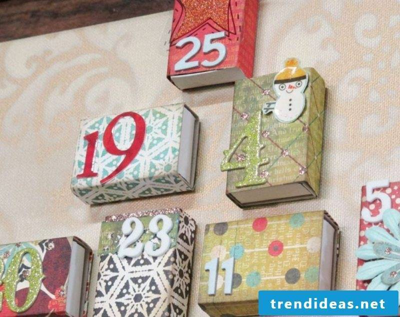Advent calendar from colorful matchboxes