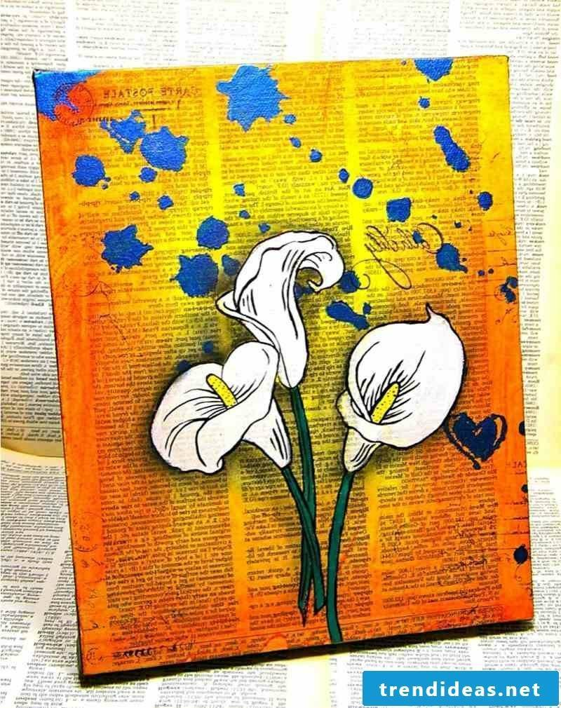 interesting picture with white lilies canvas