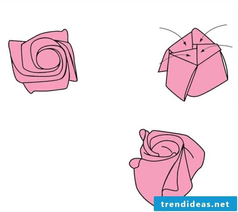 Flower from banknote fold instruction