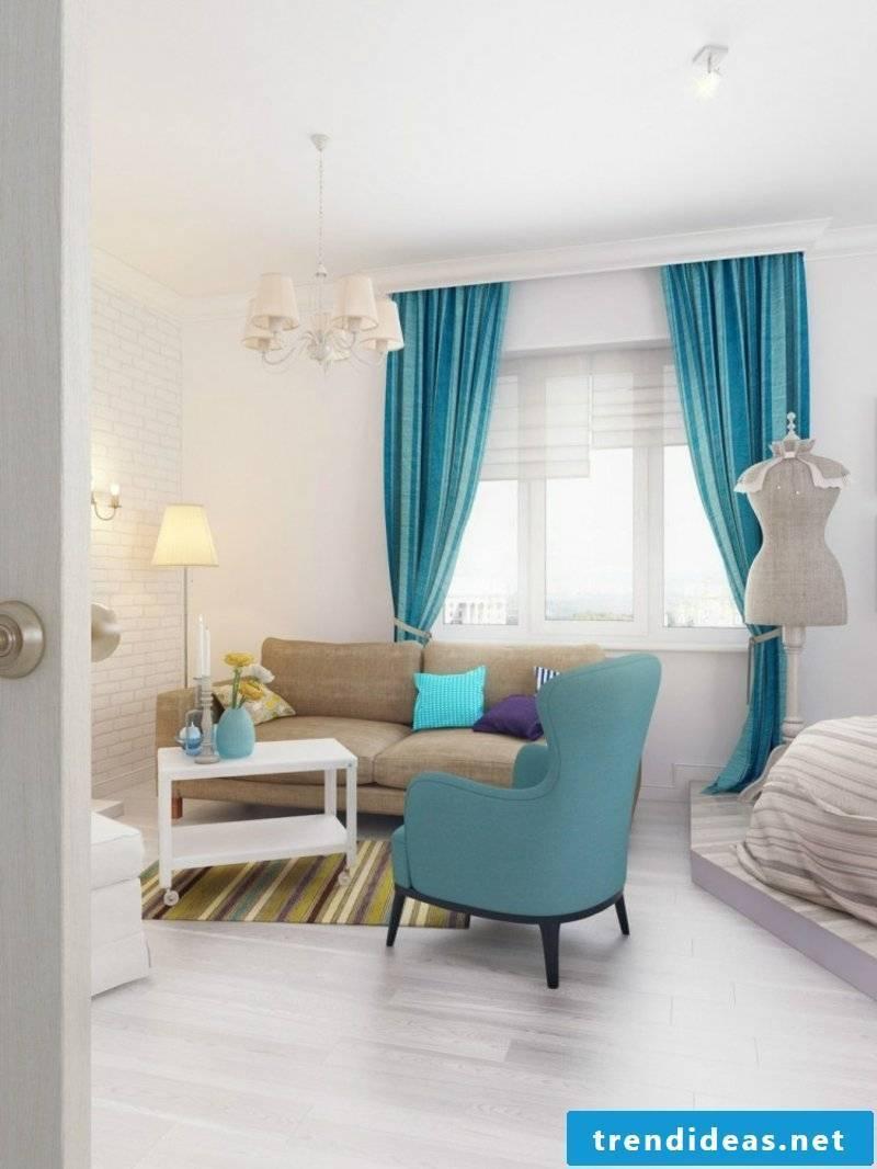 blue accents living room design
