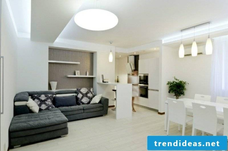 Living room in white and gray