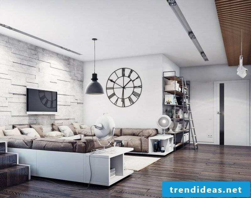 Living room with original clock