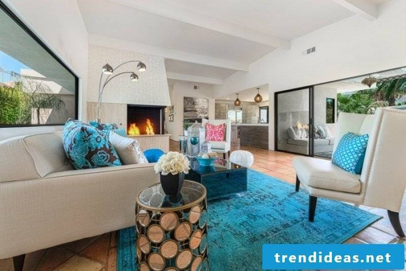 Living room with turquoise blue accents