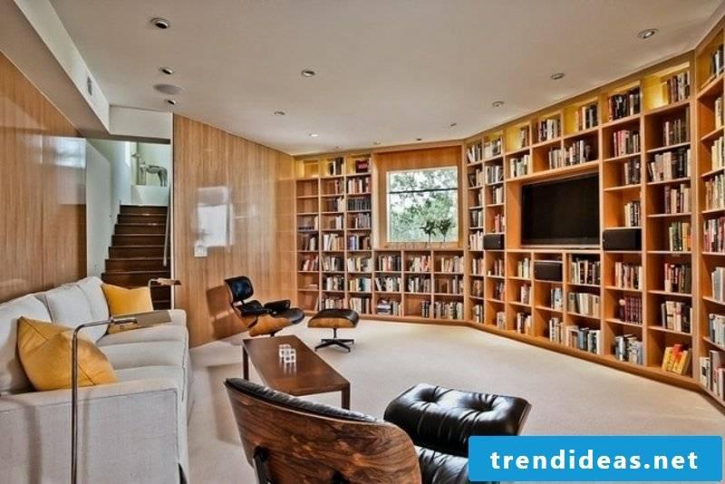 Living room with original bookshelves