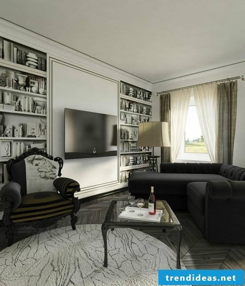 Living room furniture parquet floor