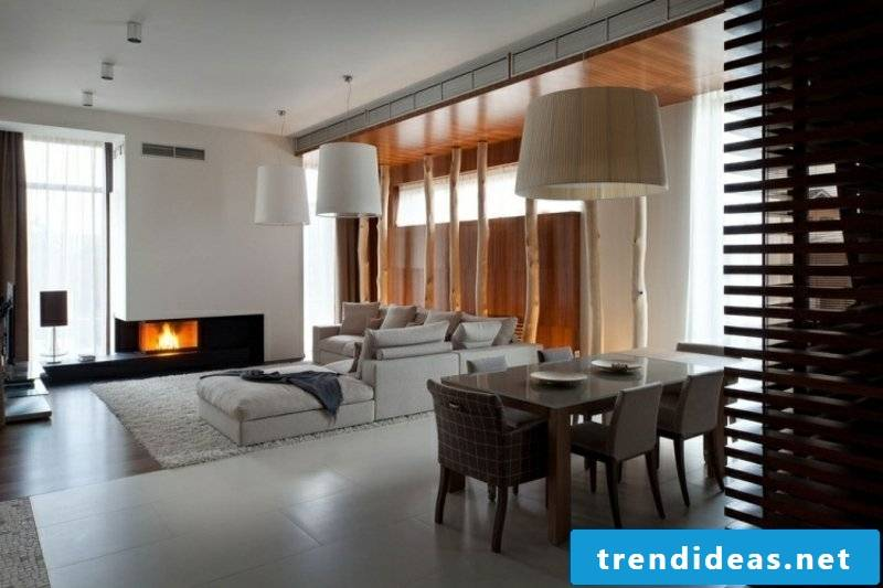 Living room dining area and fireplace