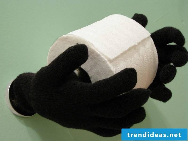 Creative diy toilet paper holder gloves