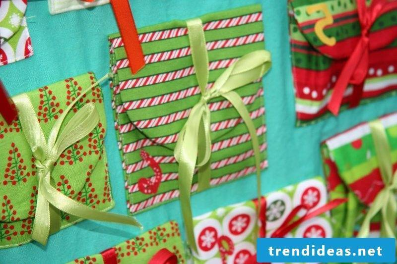 Advent calendars sew bags with bows
