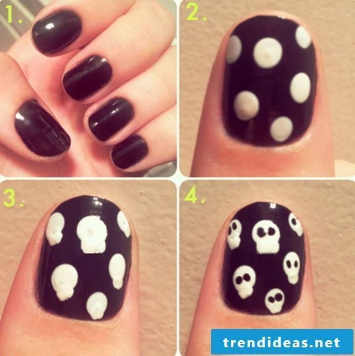 Fingernail motifs black