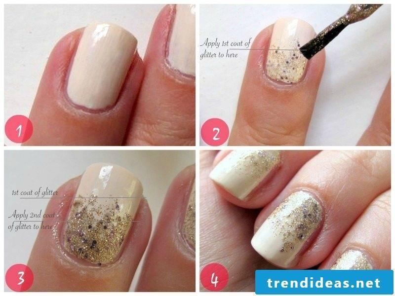 Fingernail motifs glitter