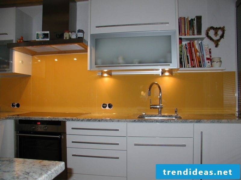 kitchen glass back wall yellow