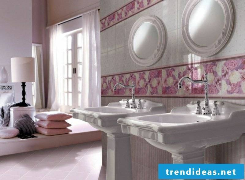 Bathroom tiles with flowers