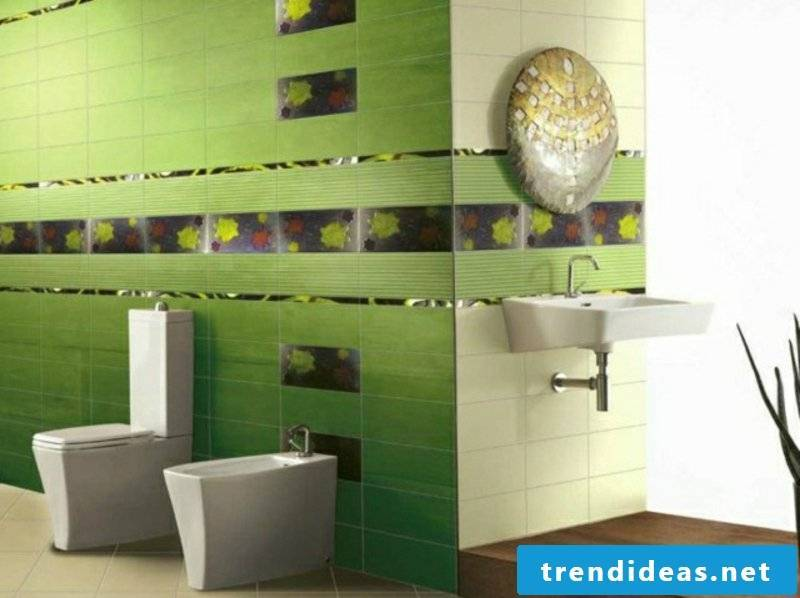 Green tiles with floral motifs