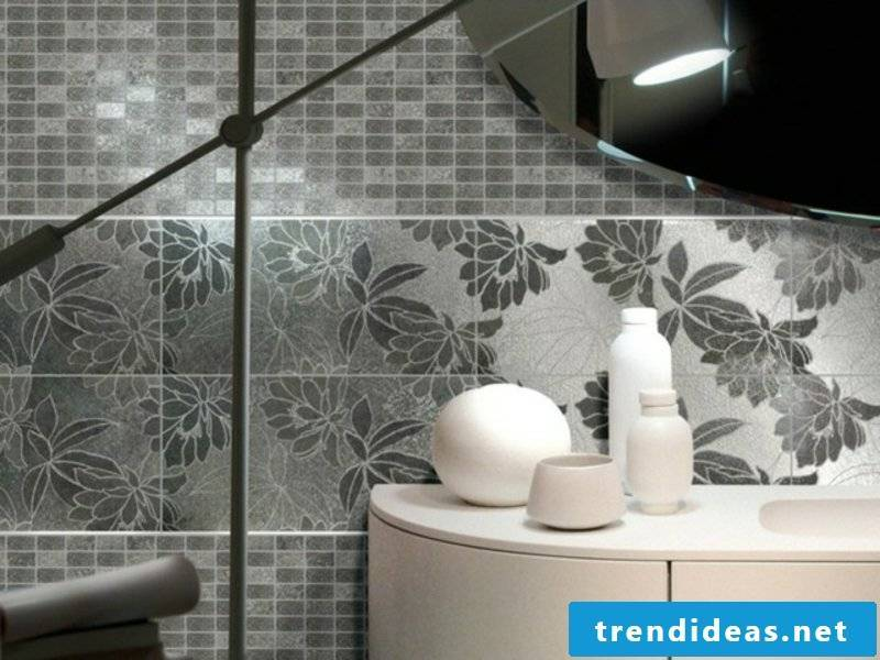 gray tiles with floral motifs