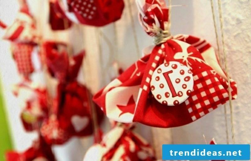 Advent calendar felt bags red and white