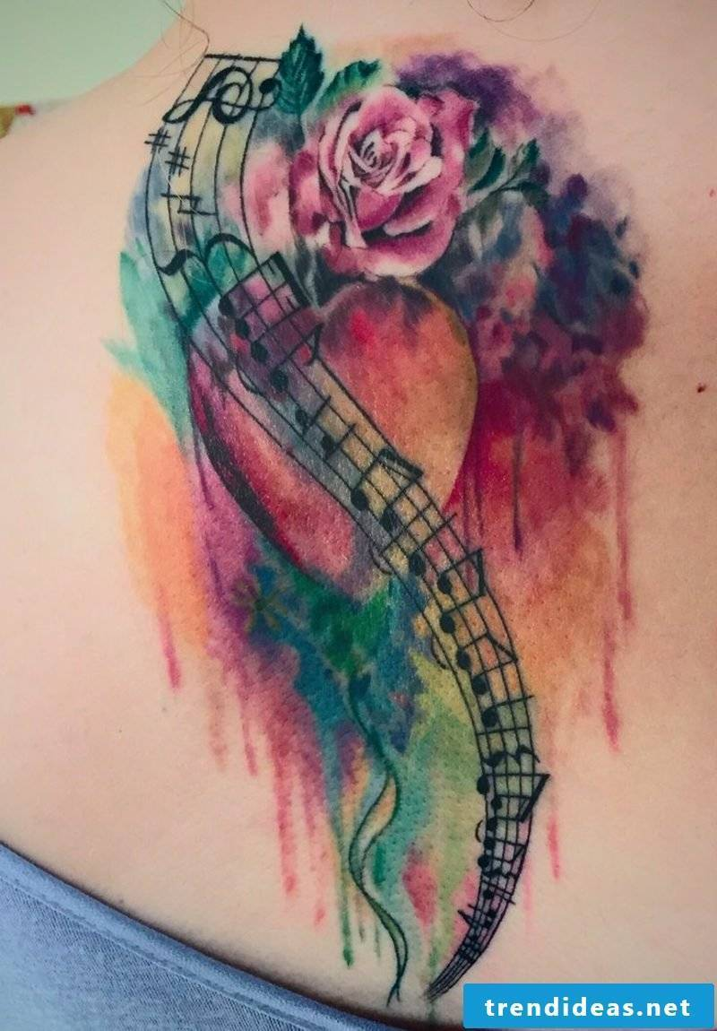 Watercolor modern tattoo woman