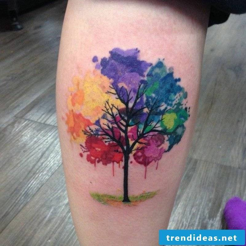 Watercolor tattoo thigh tree