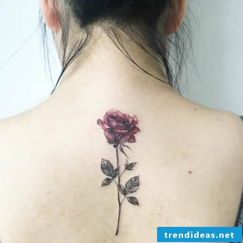 Tattoo watercolor red rose woman