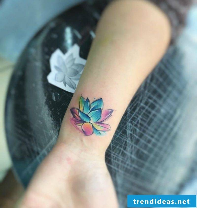 Watercolor tattoo on wrist water lily