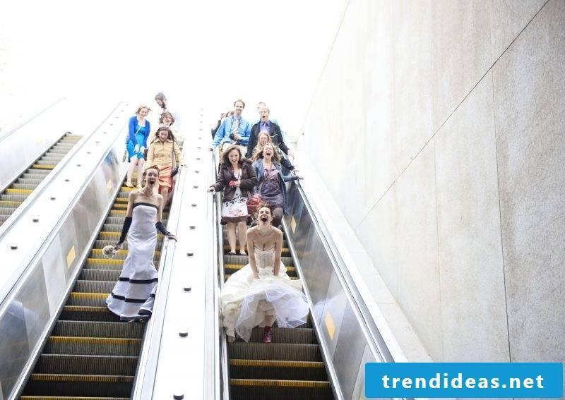 Wedding pictures escalator