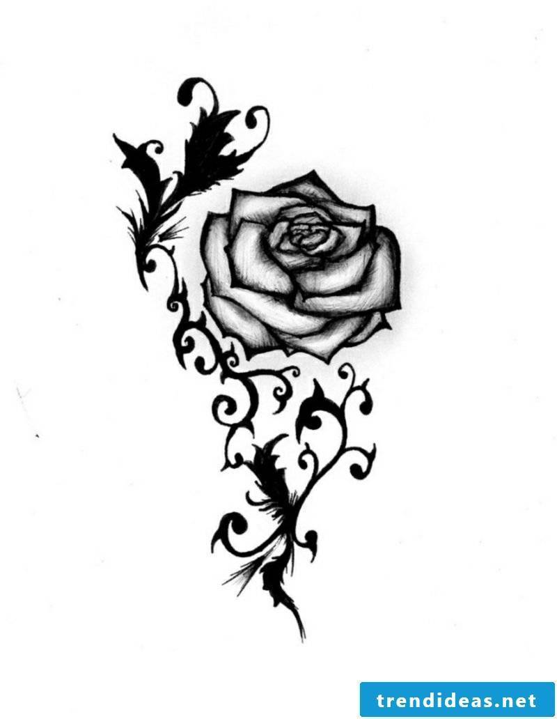 Tattoo templates for underarm stylized rose