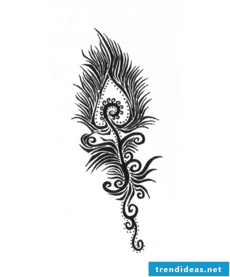 Peacock feather tattoo artwork for forearm