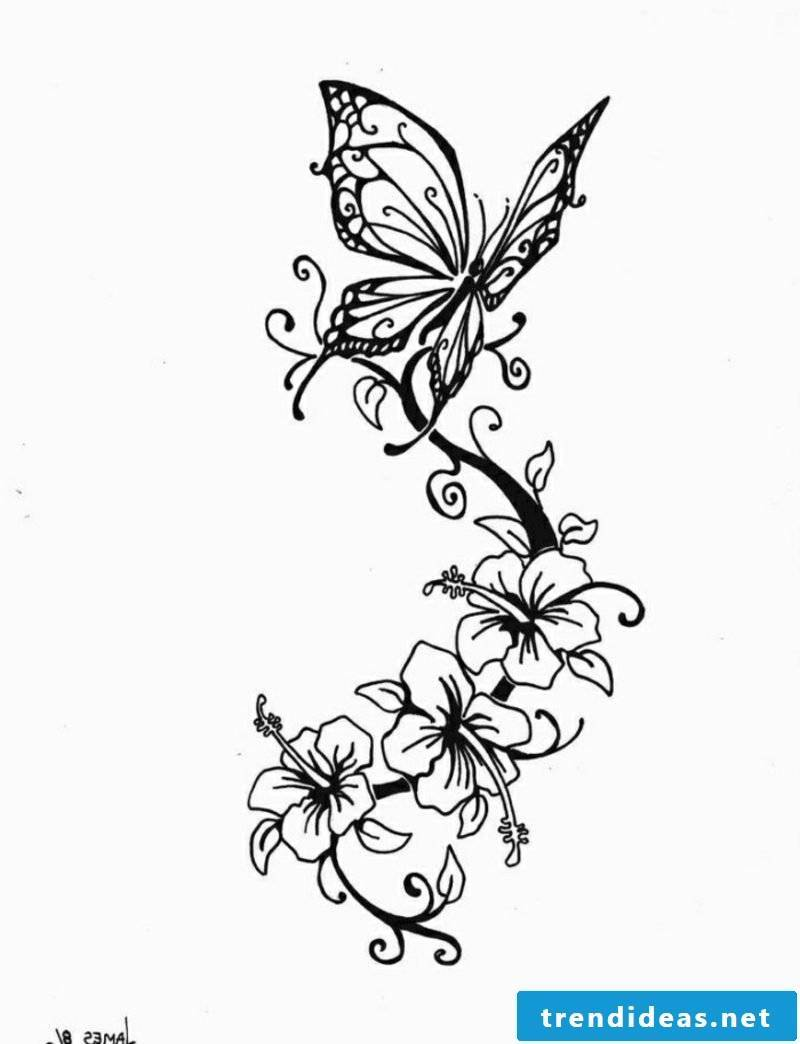Butterfly and flowers interesting tattoo artwork for forearm