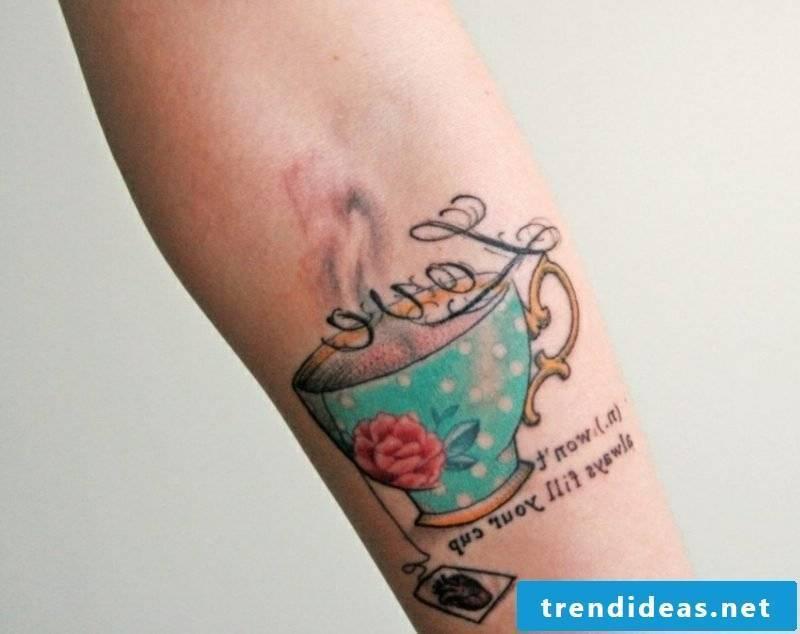 Teacup tattoo forearm