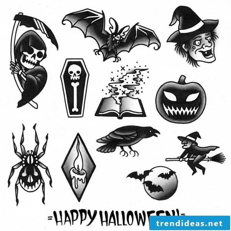 Tattoo Template Halloween Black White