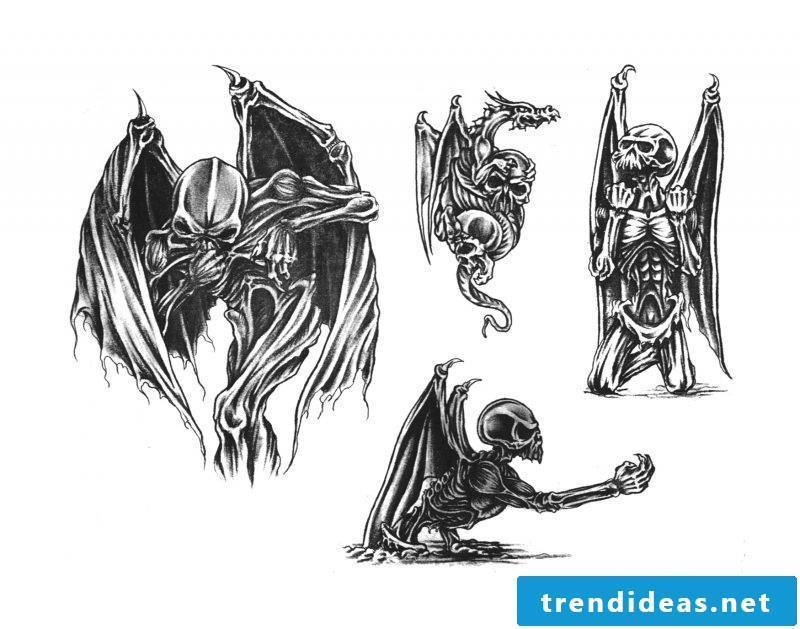 Tattoo template Halloween skeleton