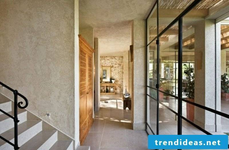 Decorative plaster corridor elegantly puristic