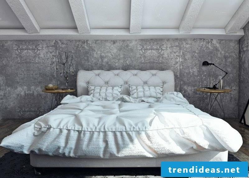 Decorative plaster bedroom concrete look