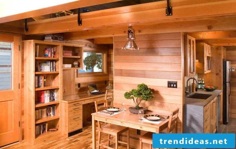 Wooden wall paneling in the kitchen