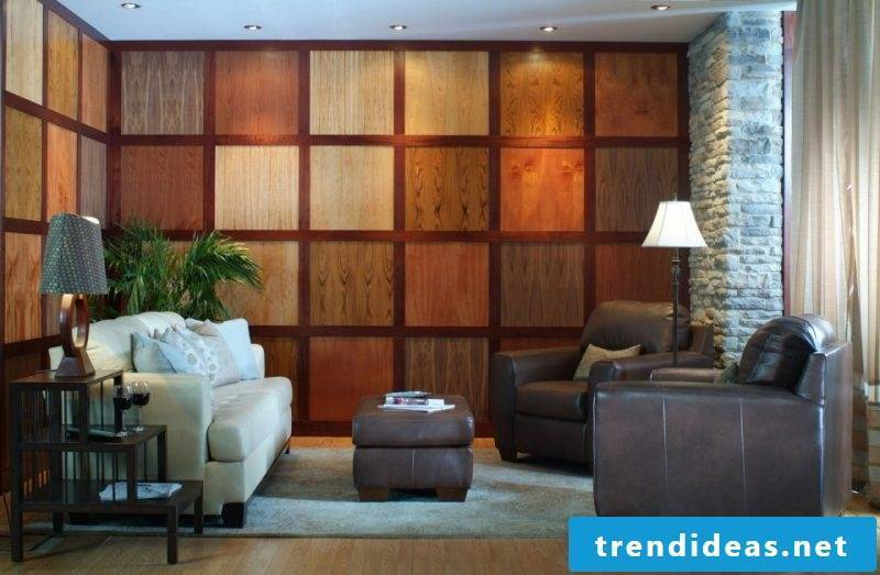 Wood wallcovering with stones