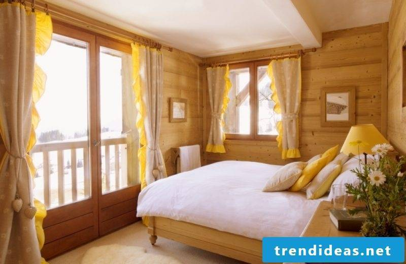 Wood wall covering bedroom interior design