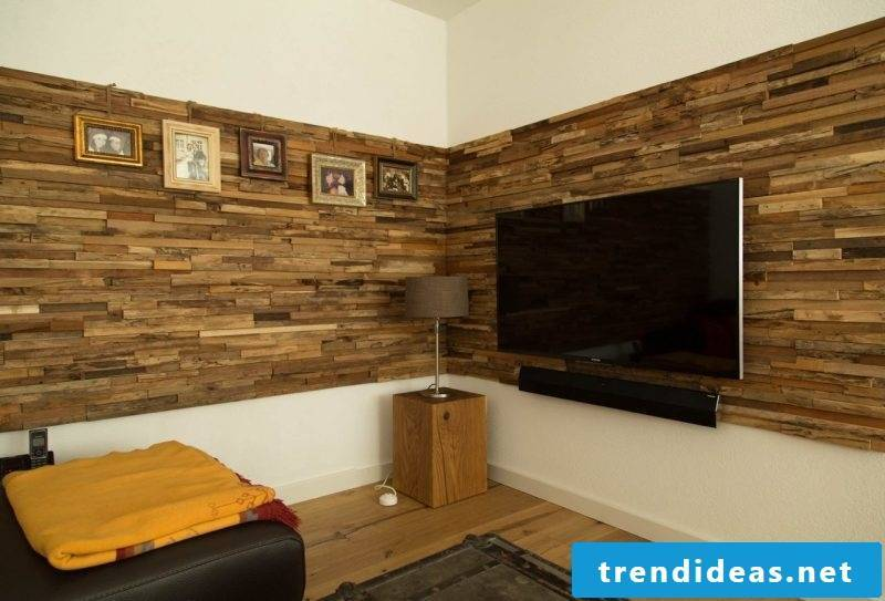 Wood wall covering TV