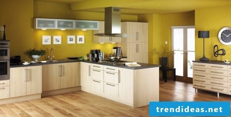 kitchen wall design yellow