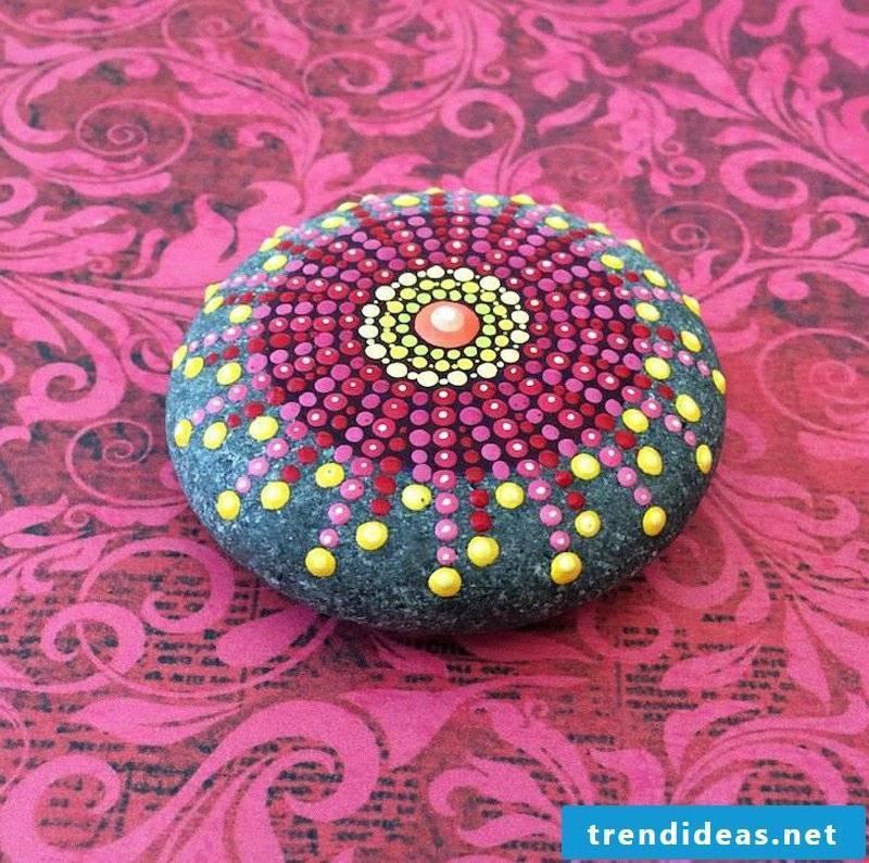 painted stones pink purple mandala