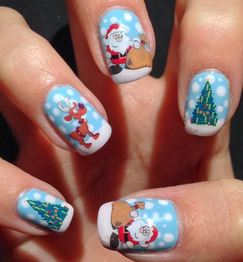 Gel nails pattern Christmas motives