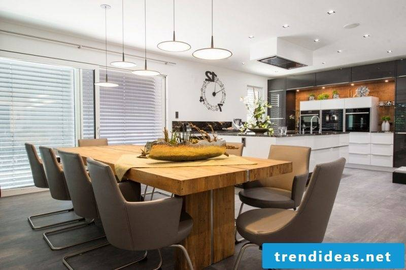 Solid wood tables in the modern dining room