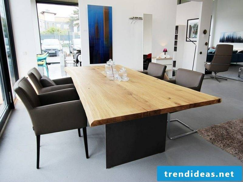 Solid wood tables can also look modern