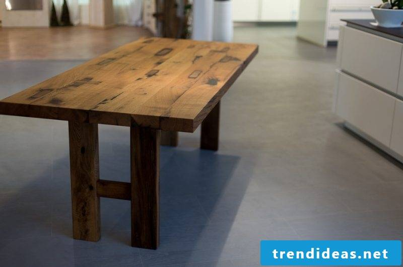 Solid wood tables are robust and stable