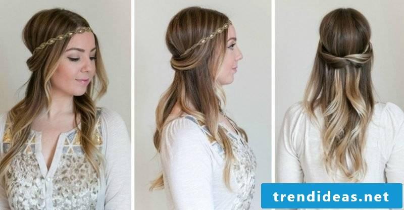 Dirndl hairstyles semi-open hairband