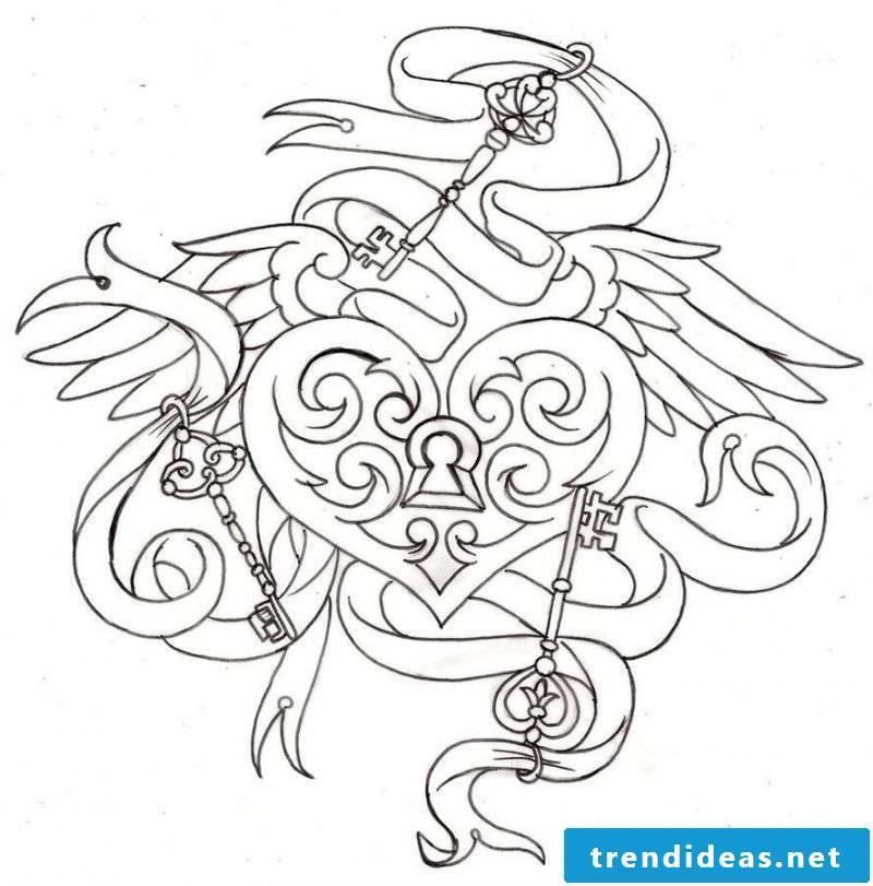 Tattoo templates free key heart