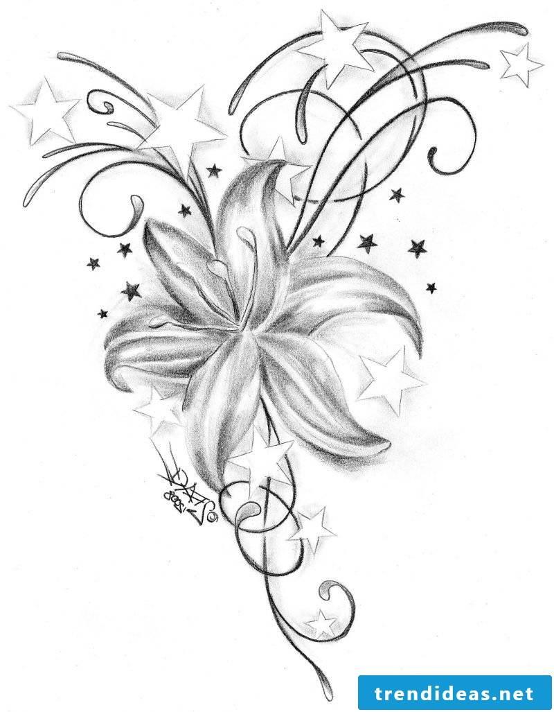 tattoo templates-free-star-flower
