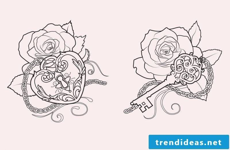 Tattoo templates free key rose women tattoos