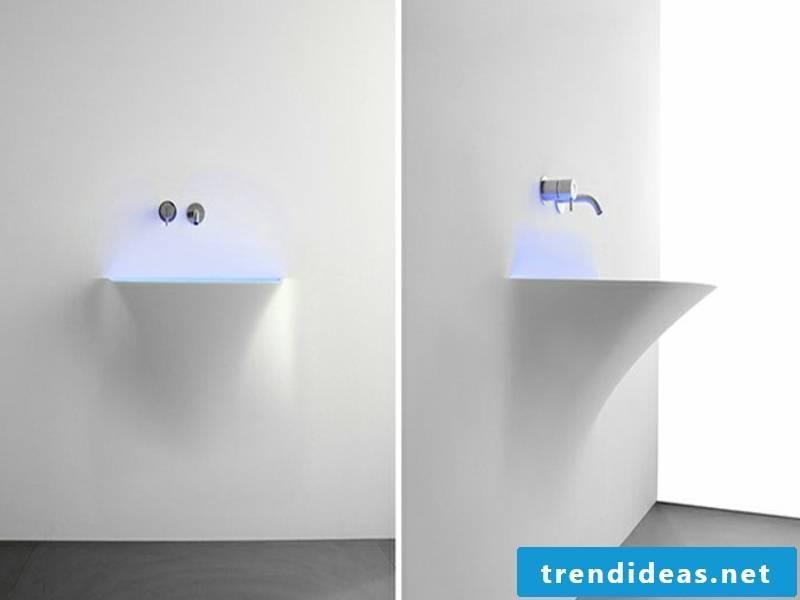 futuristic washbasin with led lighting
