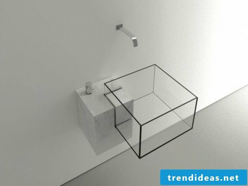 square glass sink