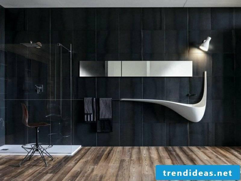 bathroom ideas for modern sink on black wall