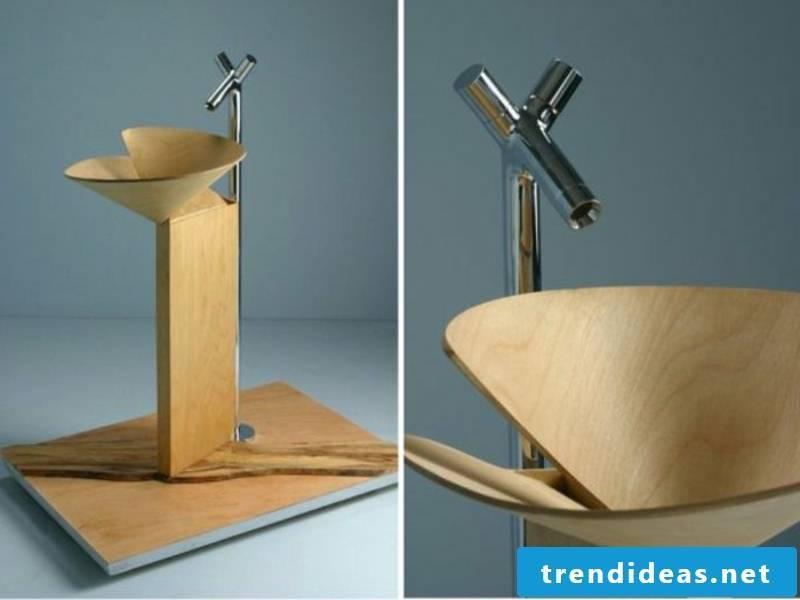 Cone-shaped wooden washbasin